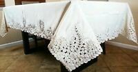 """Rectangle Ivory 72x144"""" Embroidery Lace Cutwork Tablecloth Napkins Wedding Party"""