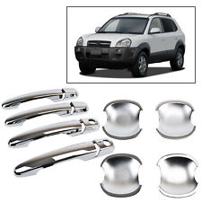 2IN1 FIT FOR HYUNDAI TUCSON 2005-2010 CHROME DOOR HANDLE COVER + BOWL CUP TRIM