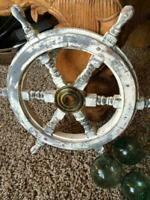 Vintage Brass White decor Nautical Hand Painted Wooden Ship Wheel 18'' Gift