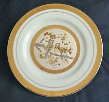Chokin Bird Dogwood Japanese Plate  Gold Silver Copper White Engraved Etched Art