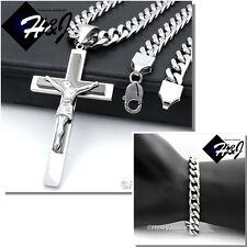 "24""MEN Stainless Steel 9mm Silver Cuban Curb Necklace Bracelet Cross Pendant*BBJ"
