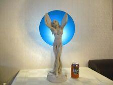 BEAUTIFUL ART DECO STYLE WINGED ANGEL FIGURINE LAMP WITH BLUE MOON SHADE