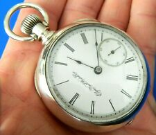 Antique 1896 Elgin Illinois 18s  Sterling Silver Coin  Pocket Watch  Runs 157g
