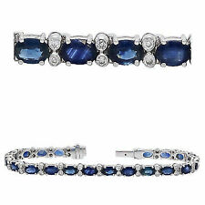 Allurez Diamond & Oval Blue Sapphire Link Bracelet 14k White Gold