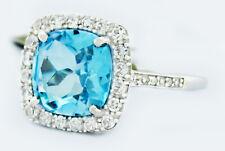 GENUINE 3.68 Cts BLUE TOPAZ & DIAMONDS RING 10K GOLD *Free Certificate Appraisal