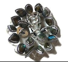 Wholesale !! Lot 50 PCs. Natural Labradorite 925 Sterling Silver Plated Ring
