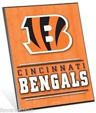 """NFL Cincinnati Bengals Logo Premium 8"""" x 10"""" Solid Wood Easel Sign"""