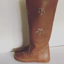 Vintage 1970's Hippy Moccasin Tall Boots British Tab Cut Out Phoenix Bird 8 8.5