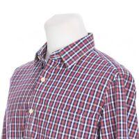 Banana Republic Soft Wash Flip Cuff Red Blue Plaid Casual Shirt Mens Large