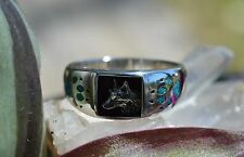 Navajo Sterling Silver Ring Wolf/Paws Turquoise Chip Inlay SZ 12, 13, 14.5, 15