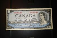 1954 Devil's Face $5 Dollar Bank of Canada Banknote GC2735195
