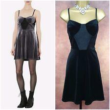 Ladies Topshop Black Lace Velvet Shirred Stretch Mini Skater Dress Size 16 UK
