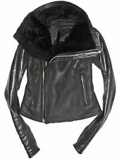 Black RICK OWENS Lamb Leather Shearling Fur Biker Moto Jacket  US 8 IT 42