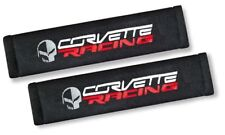 2X Embroidery ChevyC6 Corvette Racing Cotton Black Seat Belt Cover Shoulder Pad
