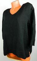 Match Point Top Tunic Shirt Large 12 14 Art To Wear Lagenlook Black Linen   dd