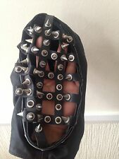 Black Real Leather Mask With Nail Costume Gothic Style