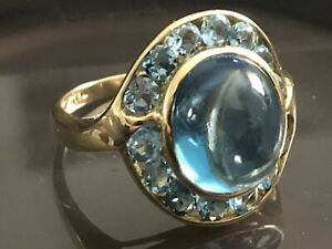 Vintage Blue Moonstone and Blue Topaz ring 14 K yellow Gold SZ 8