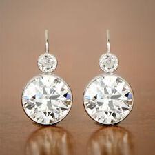 Elegant 925 Silver Drop Earrings for Women Jewelry White Sapphire A Pair/set