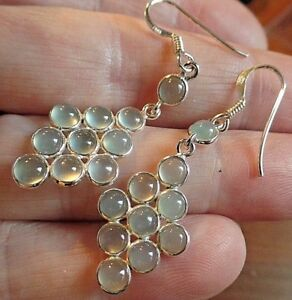 Funky Boho Sterling Silver and Aqua Chalcedony Dangly Ear Rings