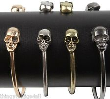 Skull Bracelet Bangle Gold Silver Black Bronze Womens Teenager Punk Head UK