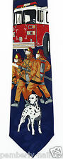 New Fire Truck Dog Mens Necktie Fireman Dalmatian Firefighter Blue Neck Tie