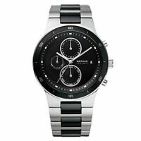 Bering Ceramic 33341-742 Mens Black and Silver Chronograph Watch New Without Tag