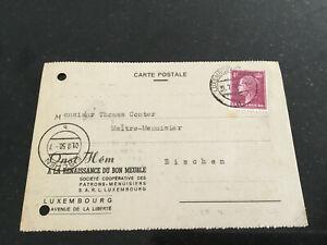 Luxemburg Karte 1950 privat nach Eischen