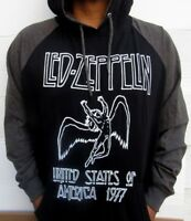 LED ZEPPELIN TWO TONES HOODIES PUNK ROCK BLACK  MEN'S SIZES