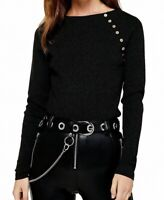 TOPSHOP Women's Sweater Smoke Black Size 6 Button Trim Ribbed Pullover $40 #338