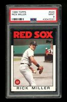 1986 Topps #424 Rick Miller Boston Red Sox PSA 9 MINT SET BREAK!