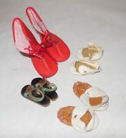 Vintage Doll Shoe Assortment Lot of 4 Pair Boots Sandals Moccasins Oilcloth
