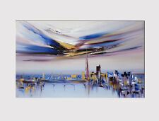 641 X LARGE CANVAS 32''x 50'' WALL ART CITY OF LONDON ABST. BLUE PRINT PICTURE
