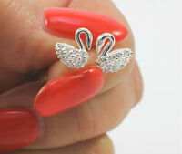 925 Sterling Silver and Cubic Zirconia Tiny Swan Stud Earrings