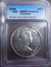 1958 canadian $1 coin Graded MS60