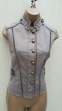 KAREN MILLEN Brown Denim Embroidered Detail Jacket Casual Gilet 10 UK 38-EU