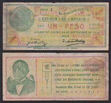 Méjico - Mexico (Oxaca) - 1 Peso  24-9-1913  Pick S953a   BC- = F