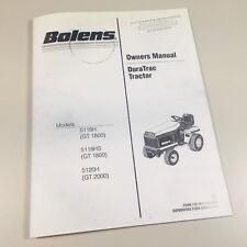 BOLENS 5118H 5118HS GT 1800 DURA TRAC LAWN GARDEN TRACTOR OWNER OPERATORS MANUAL