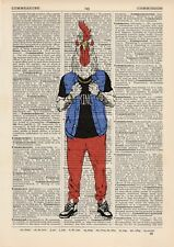 Rocking Rooster Dictionary Wall Picture Art Print Vintage Animal In Clothes
