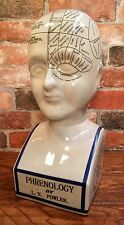 "Porcelain L.N. Fowler Phrenology Scientific Psychology 16"" Bust Head"