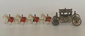 Vintage Lead 1950s Minature Souvenir Queen Elizabeth Coronation Coach and Horses