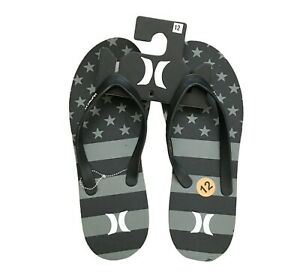 Hurley Gray and Black American Flag Stars Men's Size 12  Flip Flop Sandals