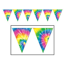 3.7m Tie Dyed Pennant Banner - 12ft Long - 60s Plastic Hanging Party Decorations