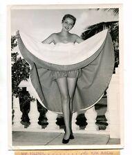 Vintage Press Photo 1953 Fashion Model Baile Resort Dress woman bloomers