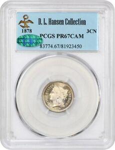 1878 3cN PCGS/CAC PR 67 CAM ex: D.L. Hansen - Gorgeous Cameo Proof