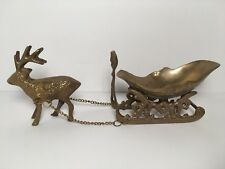 "Brass Reindeer Sleigh 11"" Christmas Holiday Home Decor Candy Dish"