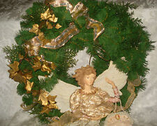 """Lace Angel/ Cameo Purse Gold Ivy Bows & Ribbon on Evergreen Christmas Wreath 19"""""""