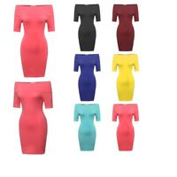 FashionOutfit Women's Summer Off-Sholder Soft Stretchy Tight Short Sleeve Dress