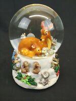 Disney Bambi Musical Snow Water Globe Christmas Cantique De Noel with Box Enesco