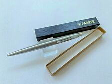 """1982 Boxed Parker Jotter """"Flighter"""" Ball Pen all Stainless Steel USA. Excellent"""