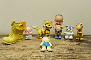 LOT OF 7 Vintage Rubber Squeak Toy Lot L@@K!!!